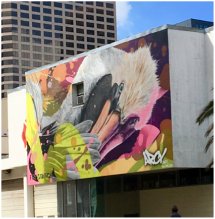 Mural depicting a pelican