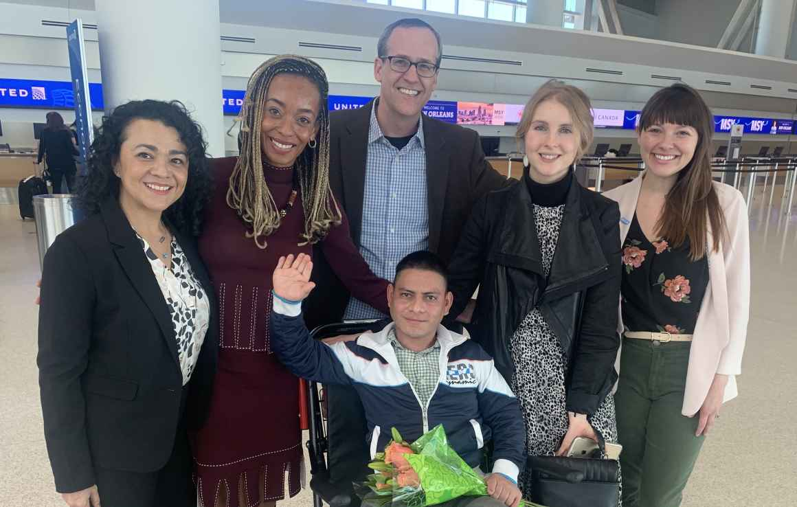 ACLU of Louisiana staff with Manuel Amaya Portillo at the airport