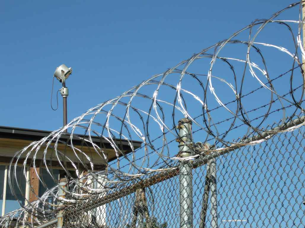 razor wire coiled along top of prison fence