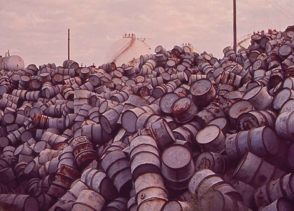 A mountain of oil drums