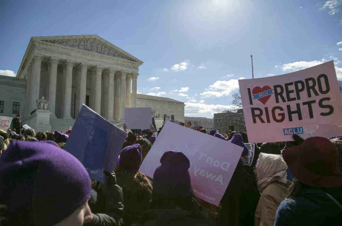 Image of an abortion rights rally outside the Supreme Court
