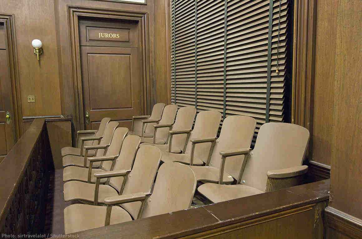 A jury box in a court room