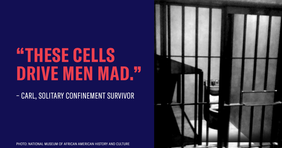 "Text that reads ""These cells drive men mad"" next to a photo of a solitary confinement cell"