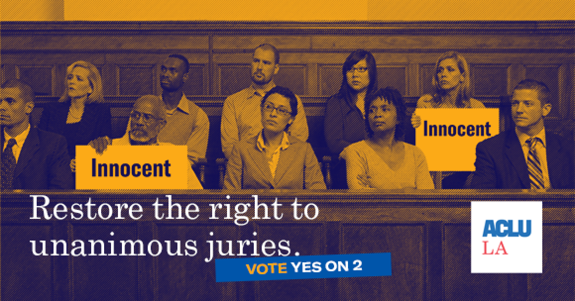 """Jury box with two jurors holding signs that say """"innocent"""""""